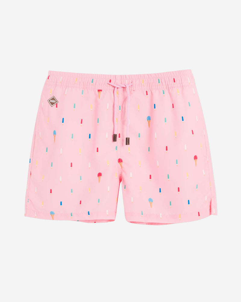 Pink mid length swim trunks with popsicle print
