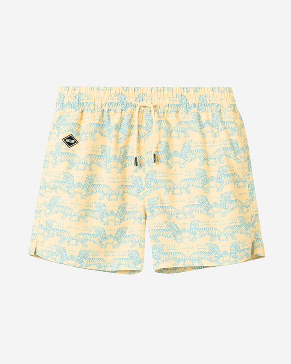 Yellow mid length swim trunks with green tiger print