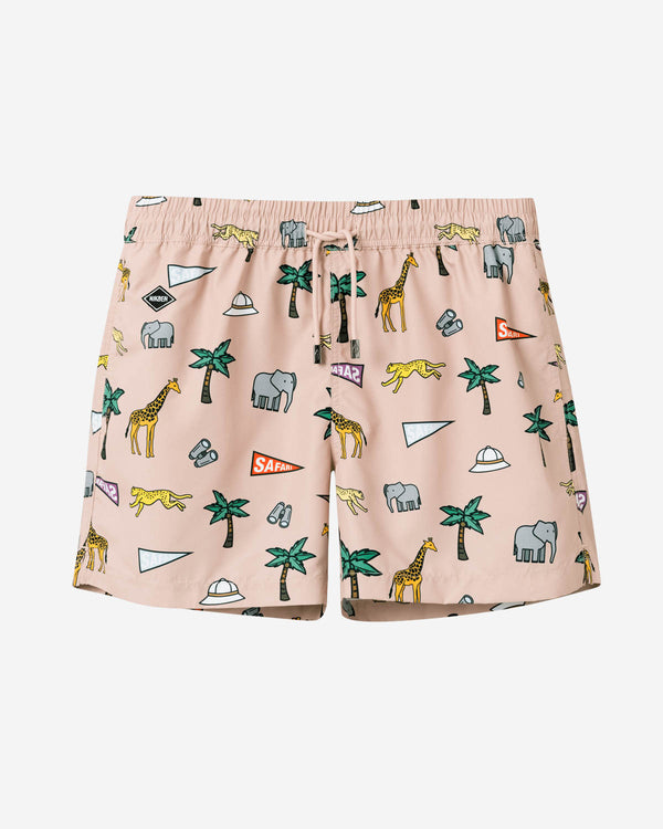 Beige mid length swim trunks with multicolored safari print