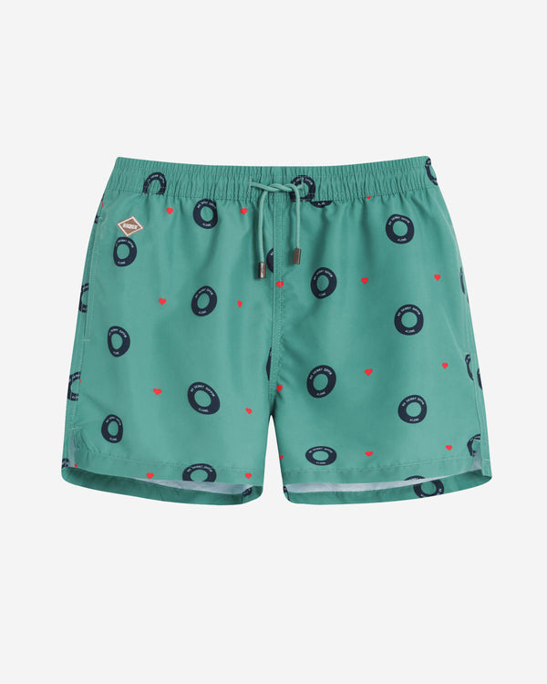 "Green swim trunks with blue prints ""Skinny Dip"" from Nikben"