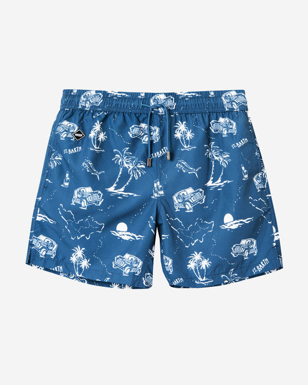 Blue mid length swim trunks with white print