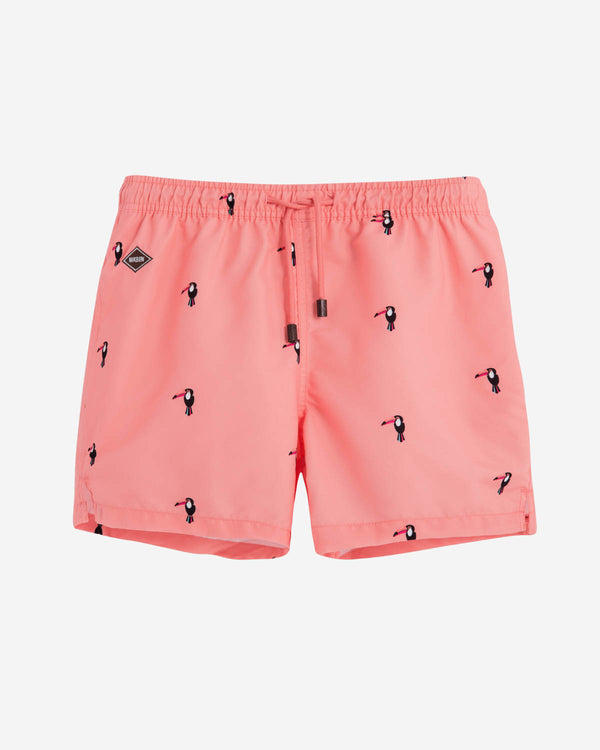 Apricot colored mid length swim trunks with print