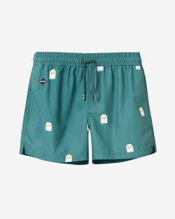 Green mid length swim trunks with egg print