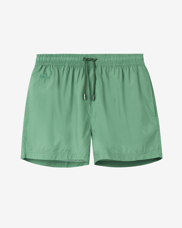 Plain green swim trunks