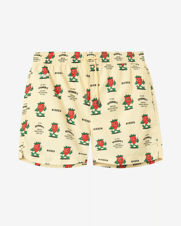 Off white swim trunks with strawberries and text