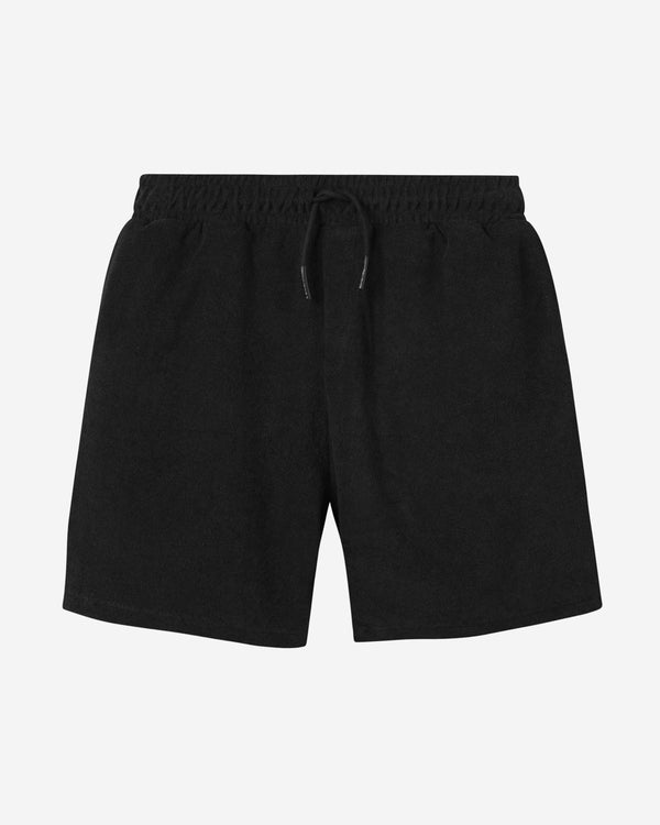 Black mid length terry towelling shorts