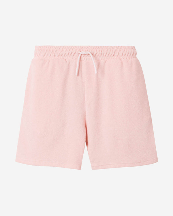 Light pink mid length terry towelling shorts