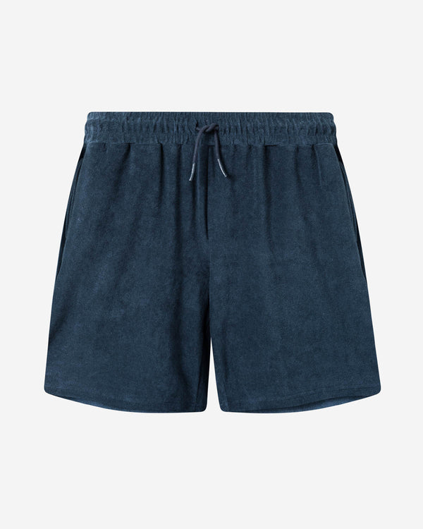 Navy blue mid length  terry towelling shorts