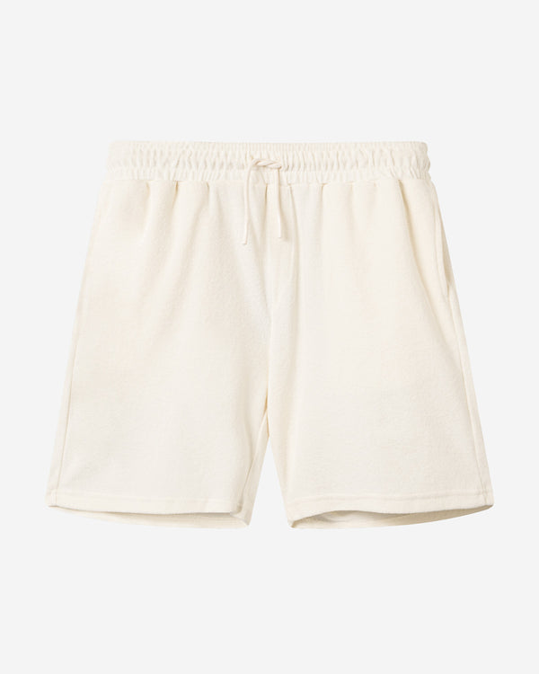 Off white mid length terry towelling shorts
