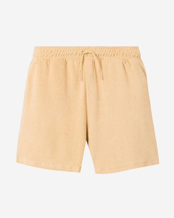 Sand colored mid length  terry towelling shorts