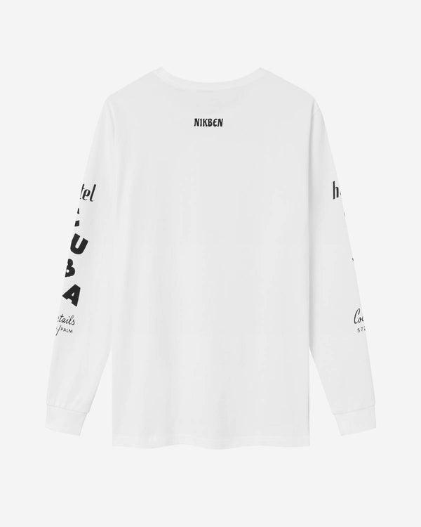 Backside on white long sleeve t-shirt with black print