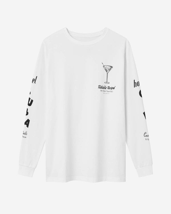 White long sleeve t-shirt with black print