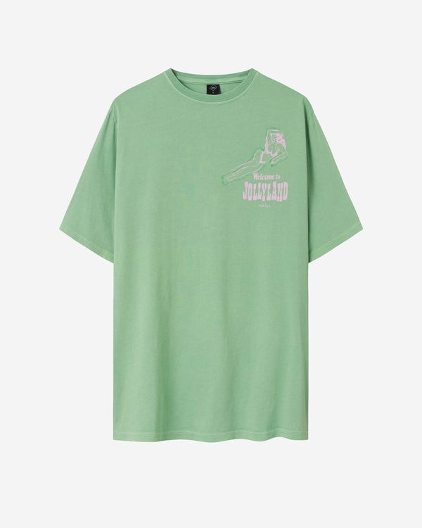 Green t-shirt with pink print