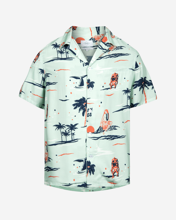 Light green printed short sleeve vacation shirt