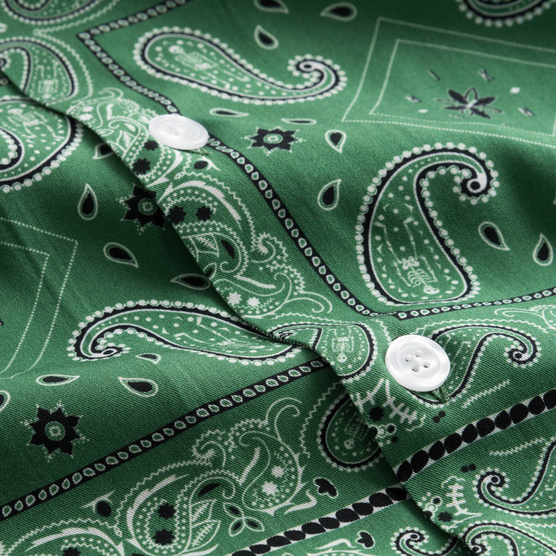White pearl buttons on green vacation shirt
