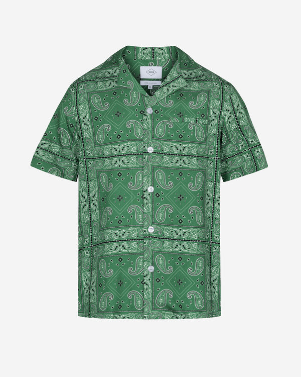 Green short sleeve vacation shirt with white pearl buttons