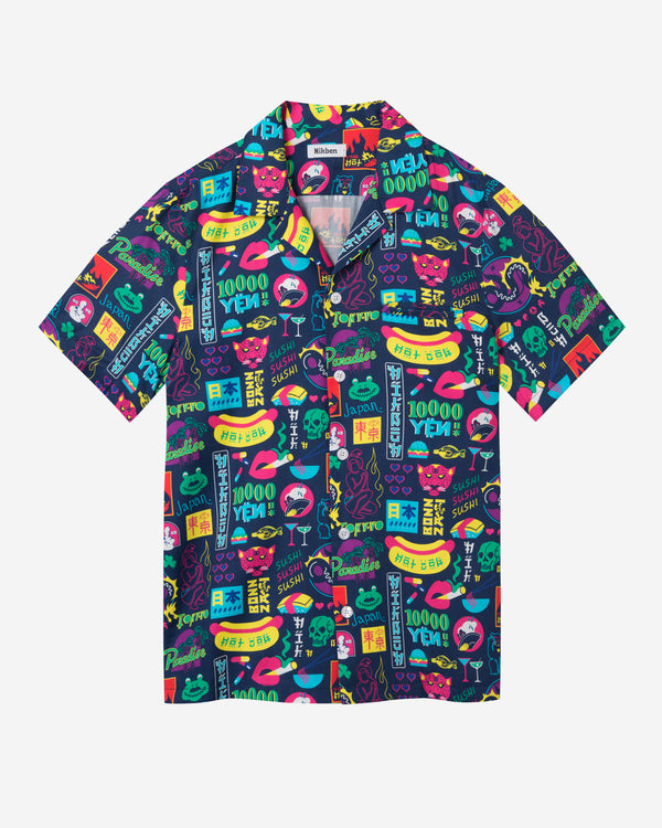 Short sleeve vacation shirt with a multicolor graphic pattern