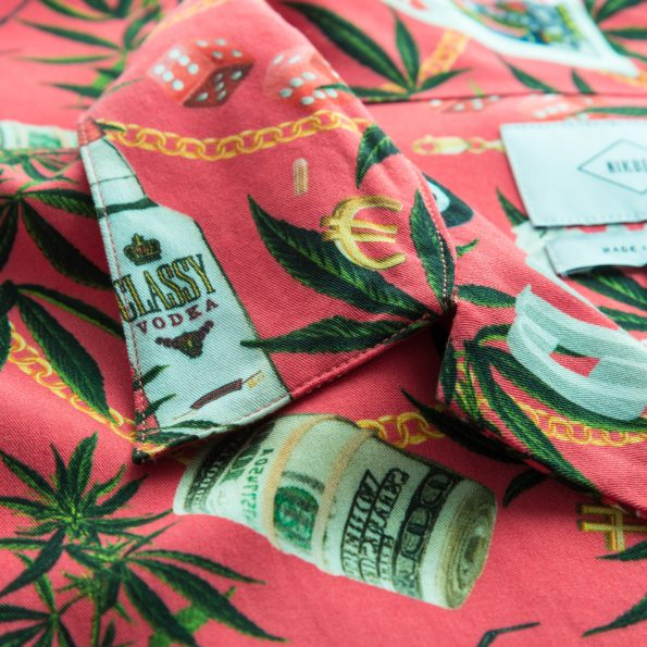 Close up of multicolor printed  vacation shirt