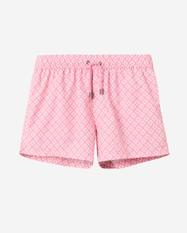 Pink and white swim trunks