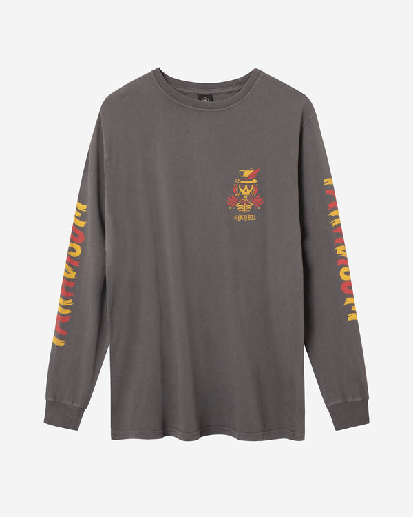 Grey long sleeve t-shirt with yellow/red print
