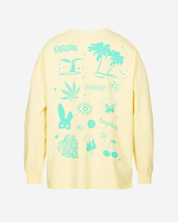 Green back print on yellow long sleeve t-shirt