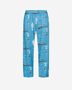 Long light blue pants with white print