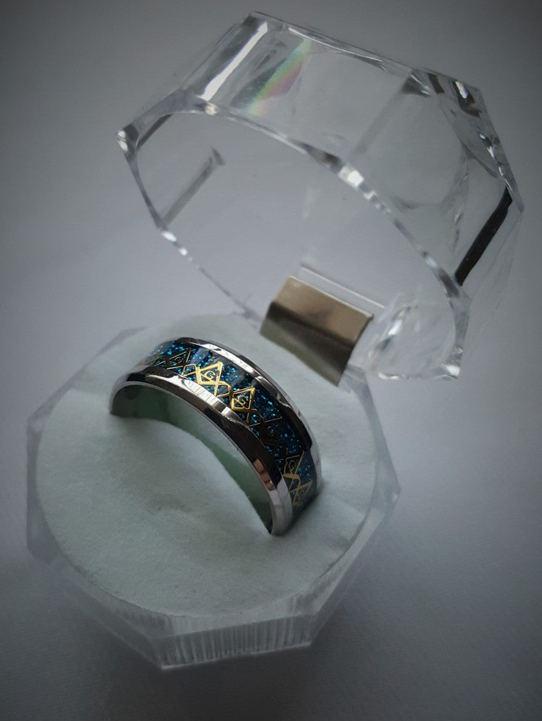 Wedding Band Style Ring (Blue and Gold)