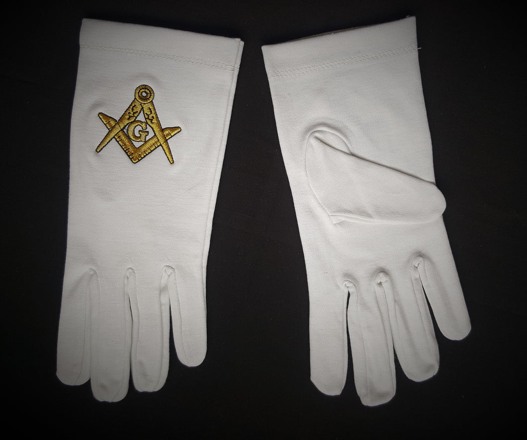 White Cotton Masonic Gloves. Gold embroidered S&Cs with G