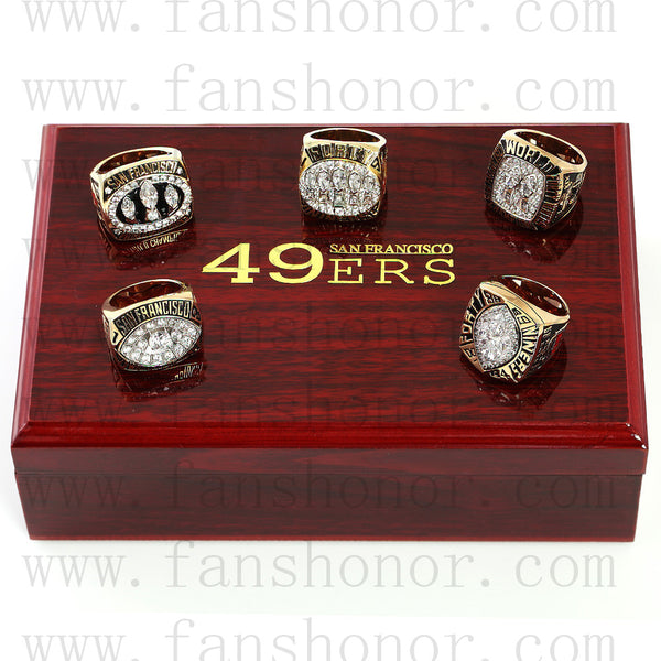 Customized San Francisco 49ers NFL Championship Rings Set Wooden Display Box Collections