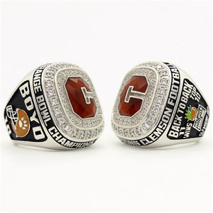 Custom Clemson Tigers 2014 Orange Bowl (January) Championship Ring With Red Ruby