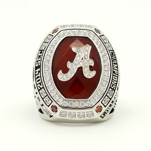 Custom Alabama Crimson Tide 2014 SEC Southeastern Conference Football Season Championship Ring With Red Ruby