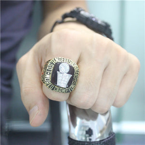 Los Angeles Lakers 1985 NBA Finals National Basketball World Championship Ring With Black Obsidian
