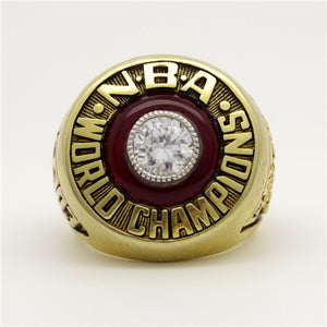 Philadelphia 76ers 1983 NBA Finals National Basketball World Championship Ring With Red Garnet