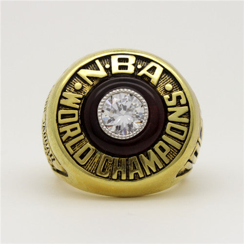 Los Angeles Lakers 1982 NBA Finals National Basketball World Championship Ring With Black Obsidian