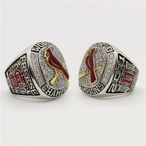 St. Louis Cardinals 2011 World Series MLB Championship Ring 18K Gold Plating With Red Enamel