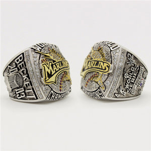 Florida Marlins (Miami Marlins) 2003 World Series MLB Championship Ring 18K Gold Plating With Red Ruby
