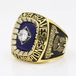 Atlanta Braves 1995 World Series MLB Championship Ring 18K Gold Plating With Synthetic Sapphire