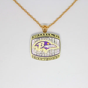 Baltimore Ravens 2000 Super Bowl XXXV NFL Championship Pendant with Chain
