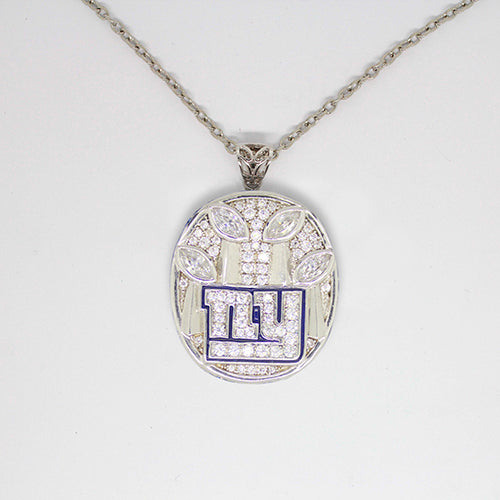 New York Giants 2011 Super Bowl XLVI NFL Championship Pendant with Chain