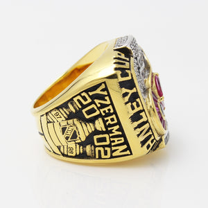 Detroit Red Wings 2002 Stanley Cup Final NHL Championship Ring With Red Ruby