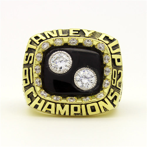 Pittsburgh Penguins 1992 Stanley Cup Final NHL Championship Ring With Black Obsidian