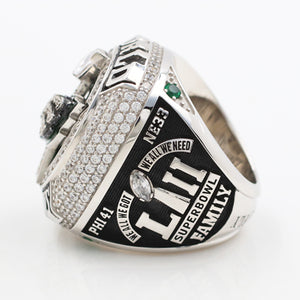 Super Bowl 2017 LII PHiladelphia Eagles Championship Ring With Green Crystals