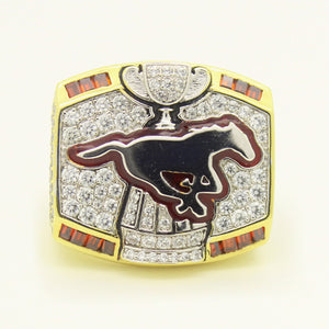 Custom Calgary Stampeders 2008 CFL 96th Grey Cup Championship Ring With Red Ruby