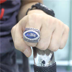 Seattle Seahawks 2005 National Football Championship Ring With Blue Sapphire