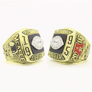 Pittsburgh Steelers 1995 American Football Championship Ring With Black Obsidian