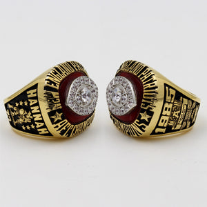 New England Patriots 1985 American Football Championship Ring With Red Garnet
