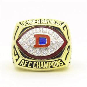 Denver Broncos 1977 American Football Championship Ring With Red Ruby