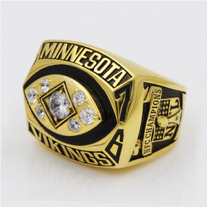 Minnesota Vikings 1976 National Football Championship Ring With Black Obsidian