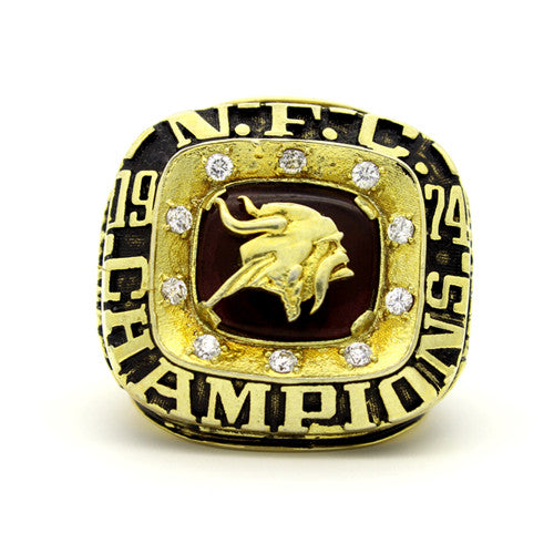 Minnesota Vikings 1974 National Football Championship Ring With Black Obsidian