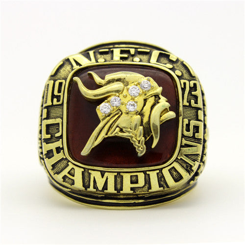 Minnesota Vikings 1973 National Football Championship Ring With Red Ruby